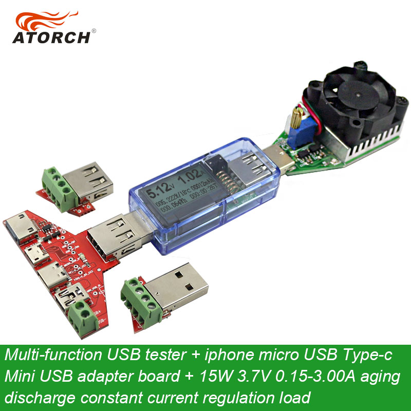 ATORCH USB tester DC Digital voltmeter + iphone micro USB Type-c Mini adapter board + usb load DC electronic discharge resistor