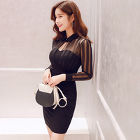 2018 Spring Women Dress Black Long Sleeve Gauze Patchwork Bodycon Dress Hollow Out Sexy Slim Party Bandage Mini Dresses Vestidos