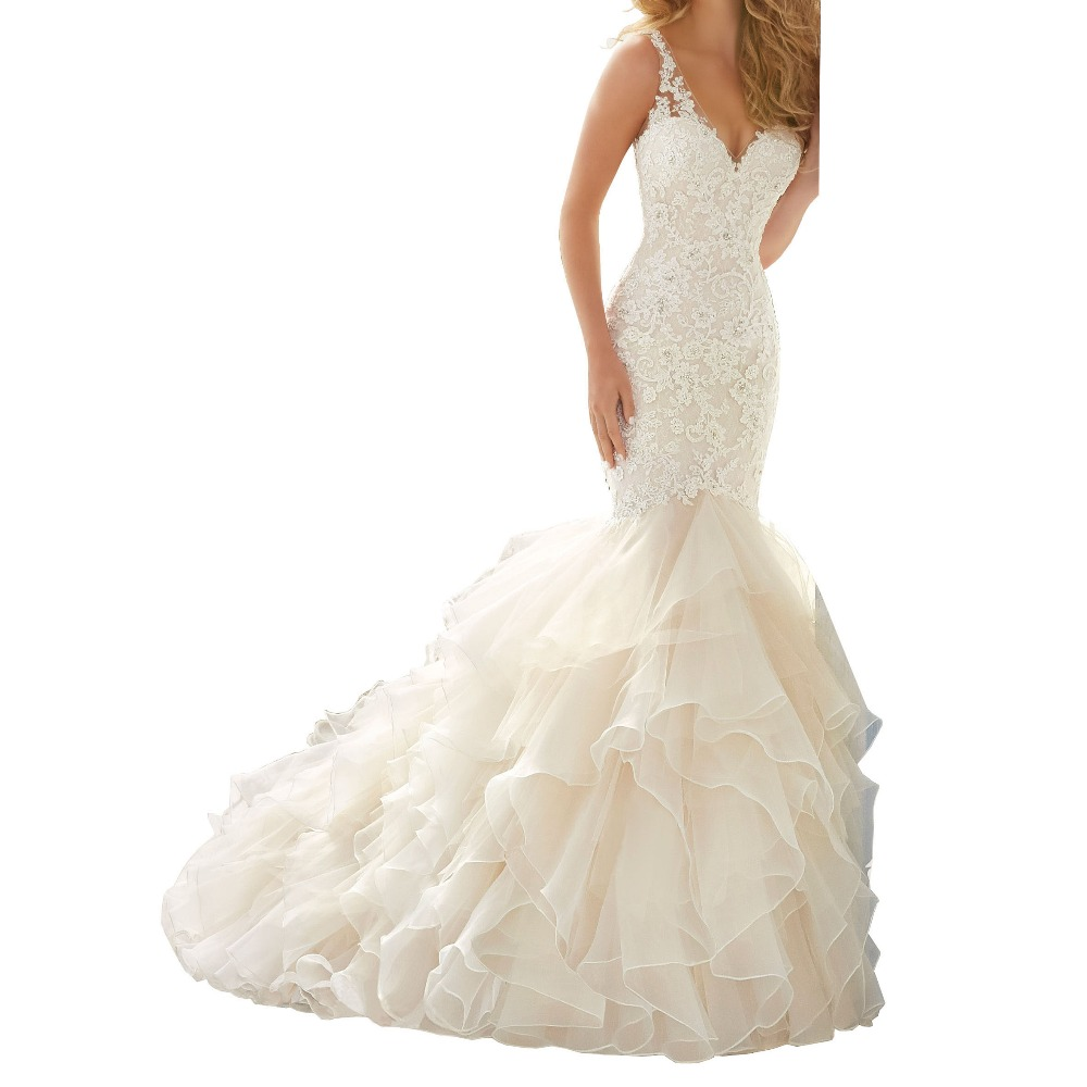 Wedding Gowns With Ruffles: Elegant Illusion Back Wedding Dress Ruffles Appliques