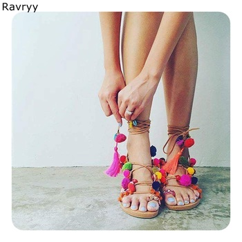Colorful pompon lace up woman sandals flats Summer hot fashion ankle strap mixed color bohemian casual shoes female beach shoes