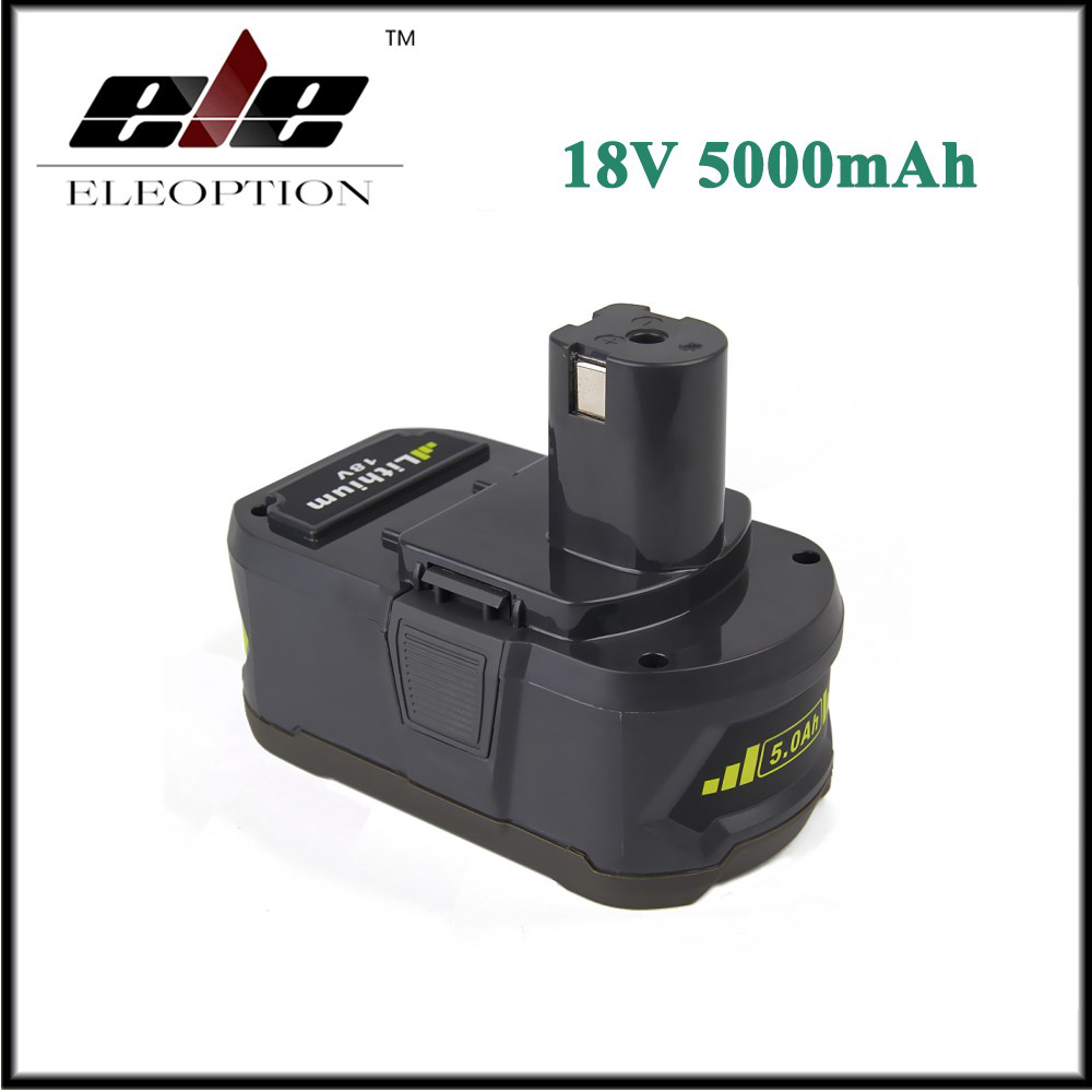 Eleoption 18V 5000mAh Li-Ion Rechargeable Battery For Ryobi P108 RB18L40 P2000 P310 For Ryobi for ONE+ BIW180 лобзик ryobi one r18js 0