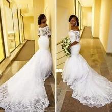 Thinyfull 2019 Off Shoulder Short Sleeve Mermaid Plus Size Lace Appliques Wedding Dress Long Train Bridal Gown vestido de noiva