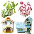 4 casa/lot Criativo jigsaw puzzle 3D quatro construção de casa de crianças de Construção Brinquedos Educativos para crianças e meninas do bebê presentes