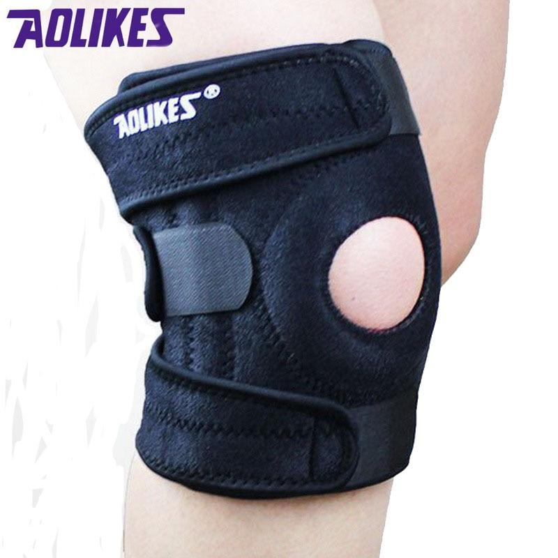 1 bucată AOLIKES Suport pentru genunchi pentru genunchi cu 4 arcuri pentru protecția genunchiului Protecție pentru genunchi Mountain Bike Sport pentru siguranță