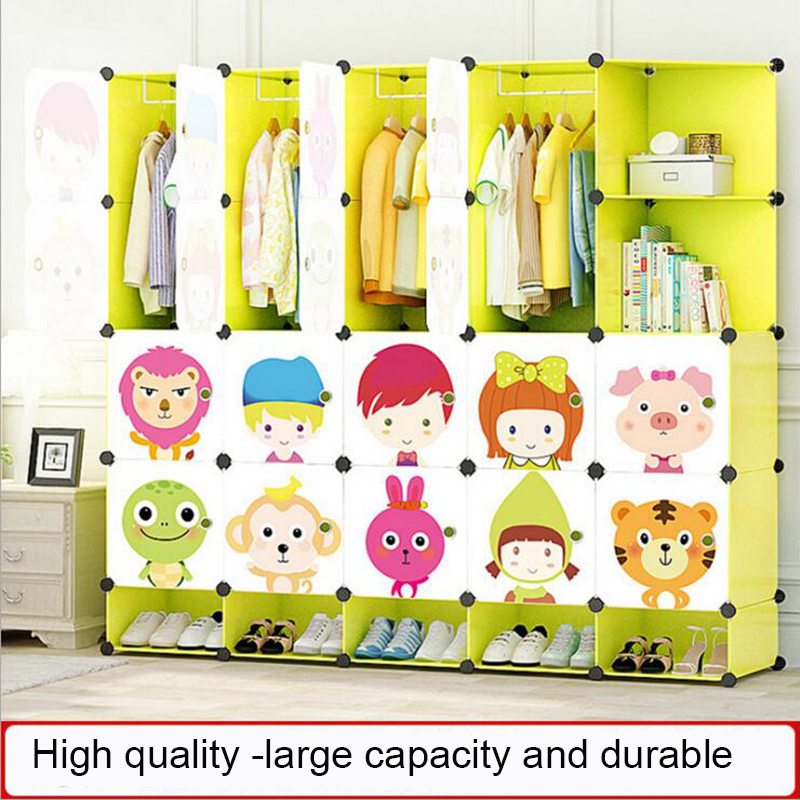 Lower Price with New Childrens Cartoon Plastic Assembly Simple Wardrobe Lockers Storage Cabinets Resin Composition Baby For Kit Child Convenient To Cook Children Wardrobes