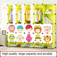 New Children's Cartoon Plastic Assembly Simple Wardrobe Lockers Storage Cabinets Resin Composition Baby For Kit Child