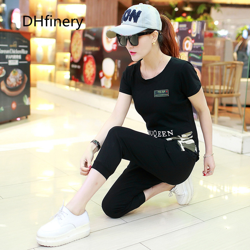 DHfinery two piece set women summer short sleeve t shirt and pants Camouflage set plus size