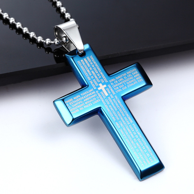 big cross necklaces blue color stainless steel bible cross pendant