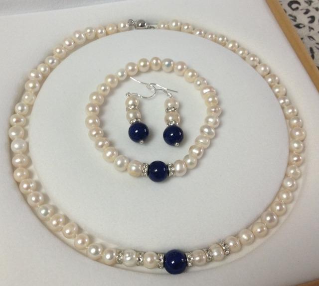 2014 nova moda encantador frete grátis 7-8 MM Branco Akoya Pérolas Cultivadas/Lapis Lazuli colar pulseiras brincos conjunto BV61