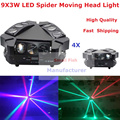 4XLot NEW Moving Head Light Mini LED Spider 9X3W RGBW Quad Color Beam Light For Professional Stage Party Wedding Events Lighting