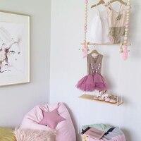 Tassel Wooden Beads Clothes Rack Kids Room Decor Wall Hanger Ornament Home Decor UYT Shop