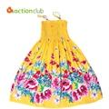 Estilo del verano muchachas de flor vestido Bohemio Vestido de princesa de las muchachas vestido de algodón vestidos para niñas vestidos infantis KD382