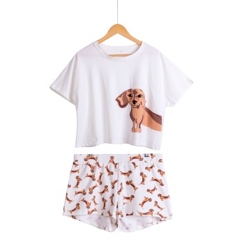 Cute Women Pajamas Nightwear Dachshund Print Dog 2 Pieces Set Short Sleeve Top Elastic Waist Shorts Plus Size Pijamas S75605 L
