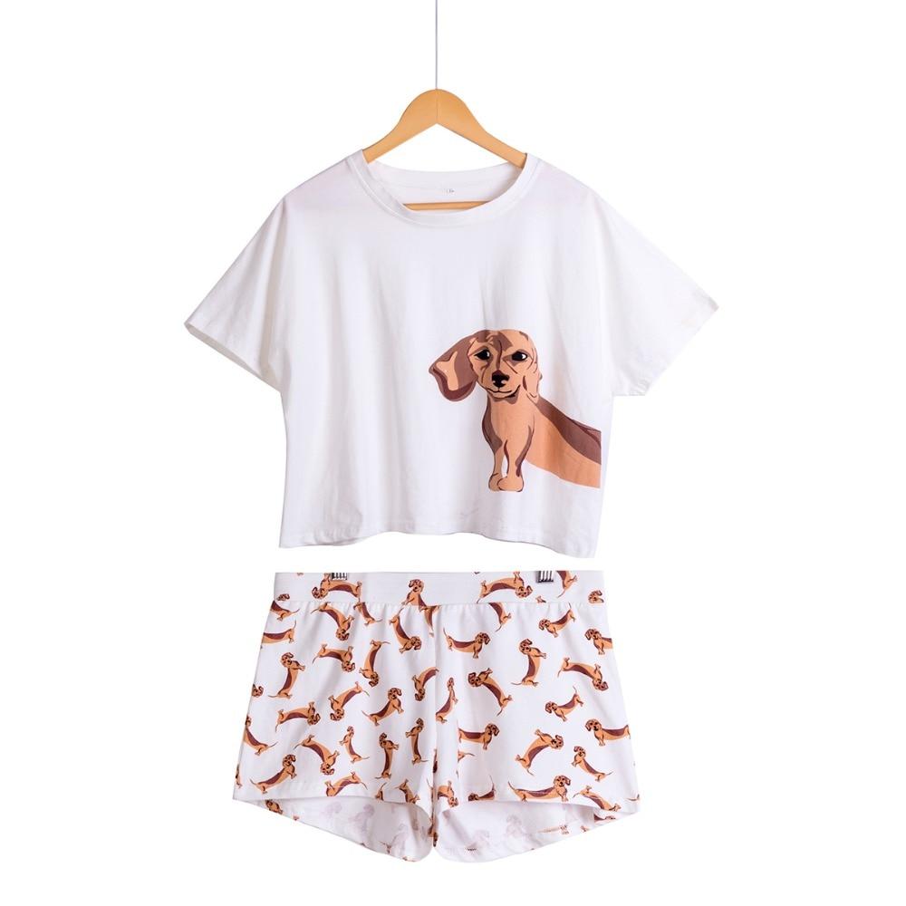 Lindo Pijamas de las mujeres de ropa de perro 2 unidades conjunto de manga corta Top elástico cintura cortos Plus tamaño Pijamas S75605 L