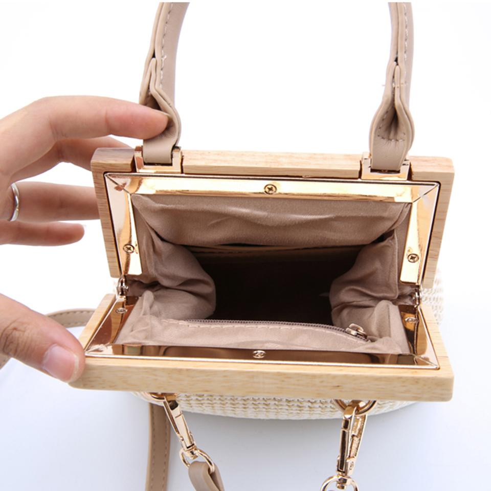 Oswego Straw Bag 2019 New Fashion Wooden Clip Women Shoulder Bag Summer Travel Beach Bag Luxury Handbags Women Bags Designer 8