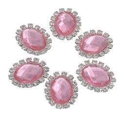 Rhinestone Acryl Embellishment Button Rhinestone Brass Dress Pink Applique Wedding Diy Flatback Strass Bouton For Craft Diamant
