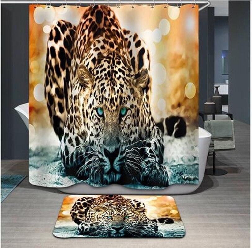 Urijk Snow Leopard de Impresión Cortina de Ducha Mildewproof Impermeable de Tela