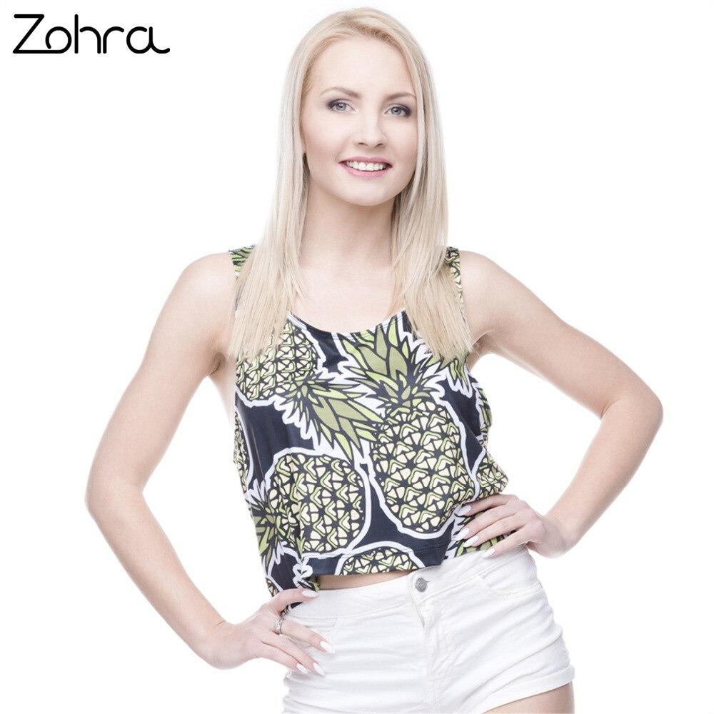 cfec6b290fc4 Zohra Women Casual Short Tank Tops Pineapple Black Printing Crop Top Sexy  Vest Female Crop Tops
