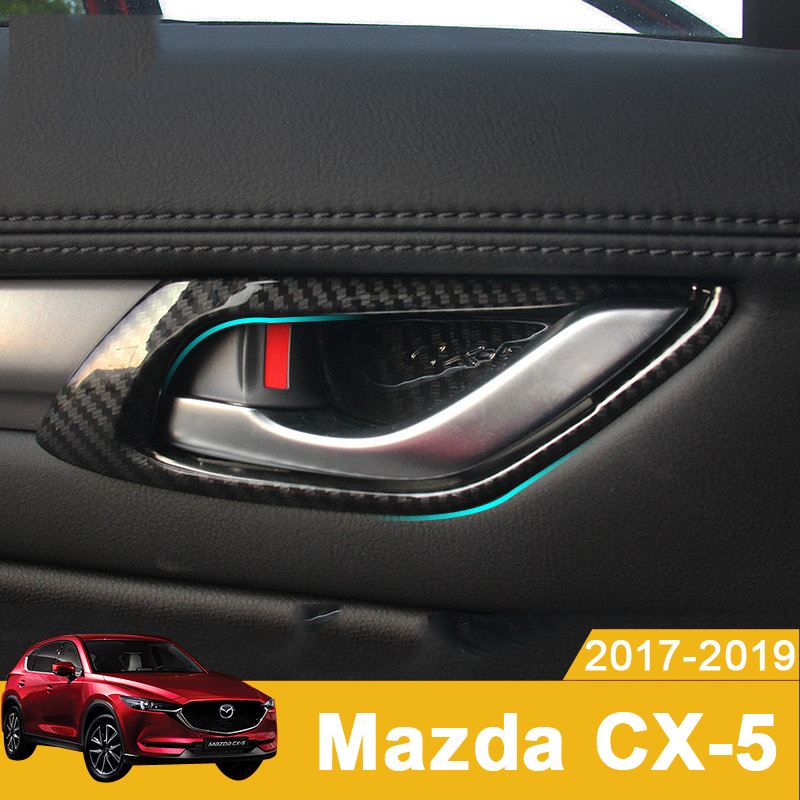 Carbon fiber Car Styling Inner Door Handle Bowl Cover Trim Protector Sticker For <font><b>Mazda</b></font> <font><b>CX</b></font>-<font><b>5</b></font> CX5 <font><b>CX</b></font> <font><b>5</b></font> 2017 <font><b>2018</b></font> 2019 <font><b>Accessories</b></font> image