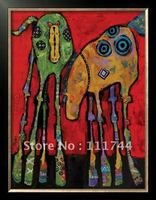 modern Abstract art dogs painting Horsing Around by Jenny Foster High quality 100%hand painted
