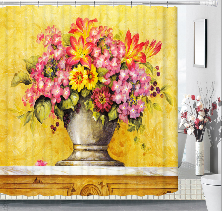 Wholesale Vintage Flower Bath Curtain Comfortable and Simple Bathroom Curtain High Quality Waterproof Shower Curtains
