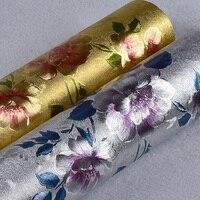 Mục vụ Vàng Floral Wallpaper Sang Trọng Hoa Lá Vàng Bạc Long Lanh Hình Nền Bức Tranh Tường PVC Chống Thấm Nước Vinyl Wall Paper Rolls 3D