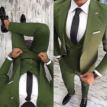 Fantastic One Button Olive Green Groom Tuxedos Groomsmen Peak Lapel Mens Suits Blazers (Jacket+Pants+Vest+Tie) W:1188
