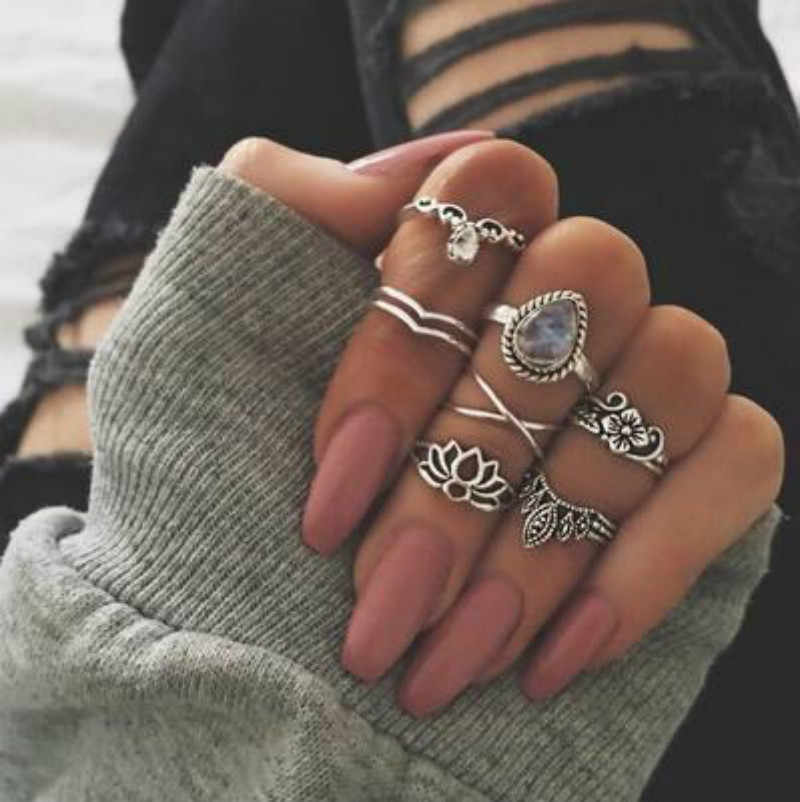 34 Style Super Sparkling Vintage Knuckle Rings for Women Boho Geometric Flower Crystal Ring Set Bohemian Finger Jewelry