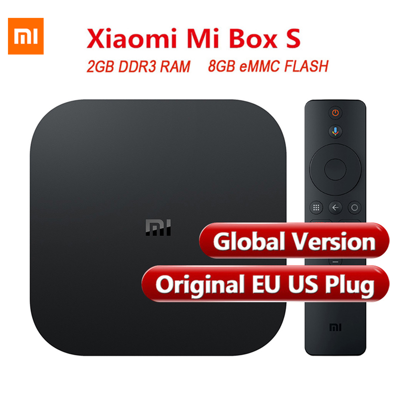 Mise à jour Xiao mi TV BOX S Smart 4K Ultra HD Cortex-A53 Quad Core 64 2G + 8G Android 8.0 film WIFI Google Cast Netflix Red Bull