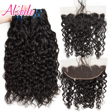 Wet and Wavy Human Hair 3 Bundles With Lace Frontal Brazilian Hair Weave Bundles(China)