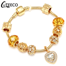 CUTEECO 2018 New Style Charms Bracelets Bangles For Women Luxury Gold Heart Crystal Dangle Fit Brand Bracelet Jewelry Gifts