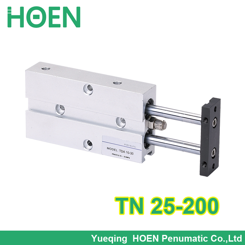 TN25-200 twin rod double action pneumatic cylinder /double rod gas cylinder/dual rod guide air cylinder TN25*200 tn25 60 two axis double bar cylinder cylinder double shaft rod dual action pneumatic air cylinder