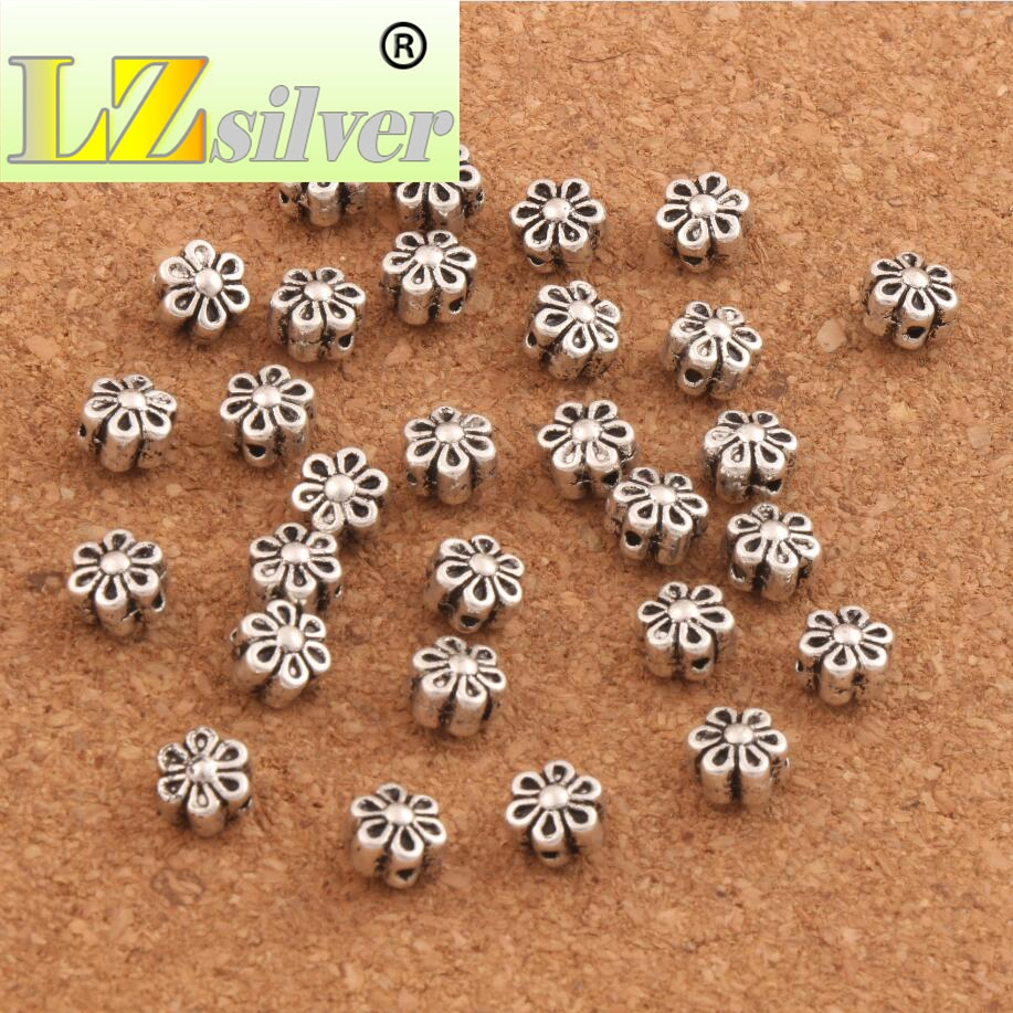 Daisy Flower Charm Beads 6 9x6 4mm 70PCS Antique Silver Metal Spacers Loose Bead Jewelry Findings L585 in Beads from Jewelry Accessories