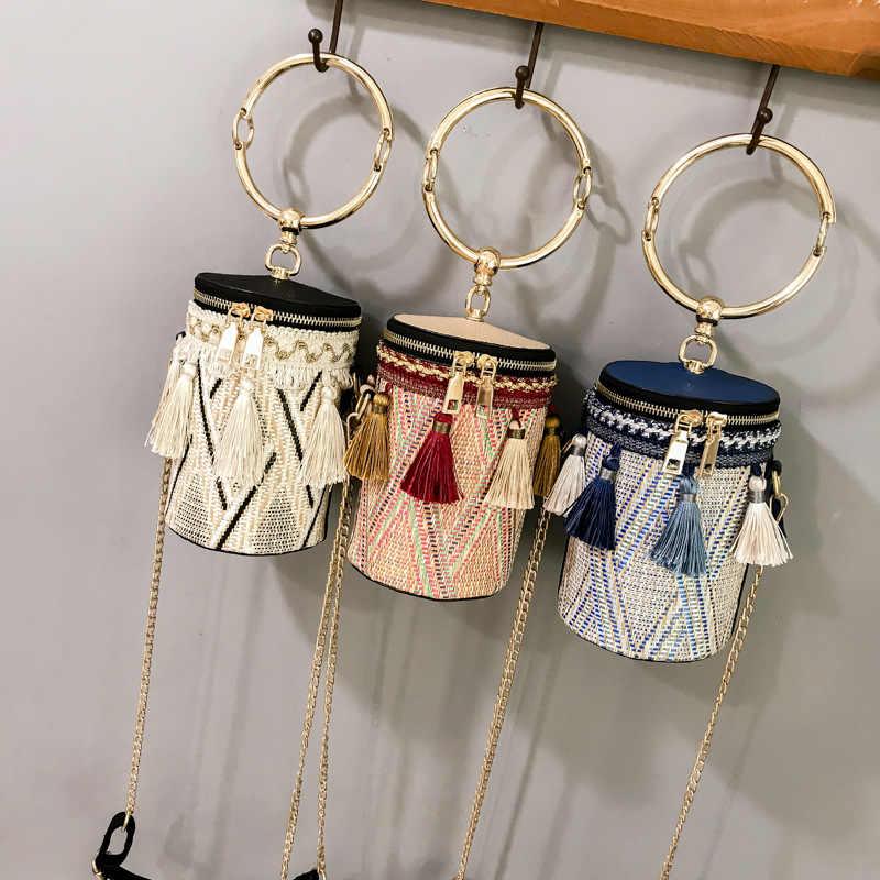 2018 Verão Sacos De Palha Rattan Tecido bolsa de Praia Bolsas de Ombro Mulheres Balde Senhoras Bolsa Crossbody Bag Bolsa Feminina Bohemian Handmade