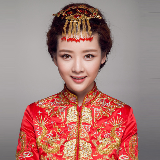Zijin Pour Flowers Decorated Chinese Bride Costume Headdress Hair
