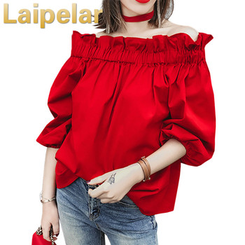 Off Shoulder Tops 2020 Summer Fashion Casual Slash Neck White Black Red Lantern Sleeve Loose Ruffle Blouses Women lace applique lantern sleeve cold shoulder top