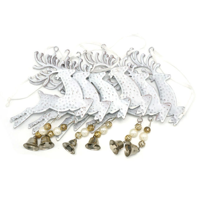 Christmas reindeer decoration 6pcs white metal bell reindeer wall hanging 3.9in for home Christmas elk decor tree decorations