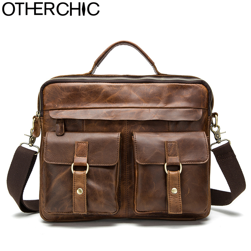 OTHERCHIC Fashion Genuine Leather Men Briefcase Men's Messenger Bags 14