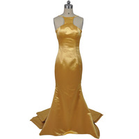 2017 Sexy Gold Evening Dress Ruffled Satin Floor Length Long Evening Gown Mermaid Cut Party Celebrity
