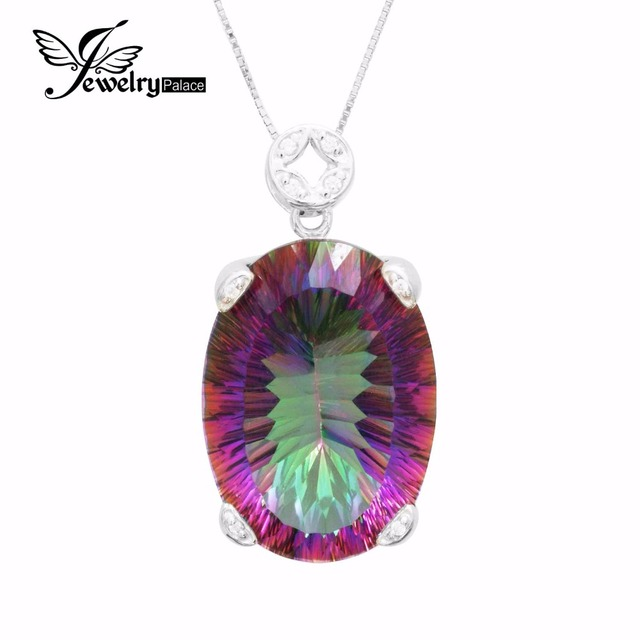Brand New Huge 42ct Genuine Concave Cut Vintage Rainbow Fire Mystic Topaz Solid 925 Sterling Silver Necklace Pendant For Women