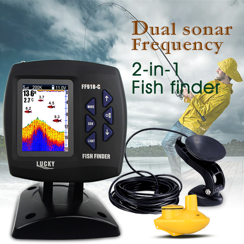 LUCKY FF918-C100WDS 3.5inch TFT LCD Wired&Wireless 2-in-1 Boat Fish Finder Dual Frequency 328ft/100m Sonar Sounder Fishfinder купить