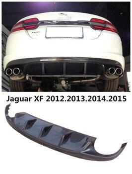 Carbon Fiber Rear Lip Spoiler Untuk Jaguar XF 2012.2013.2014.2015 Bumper Diffuser Auto Aksesoris Mobil Berkualitas Tinggi 2*2 = 4 Knalpot