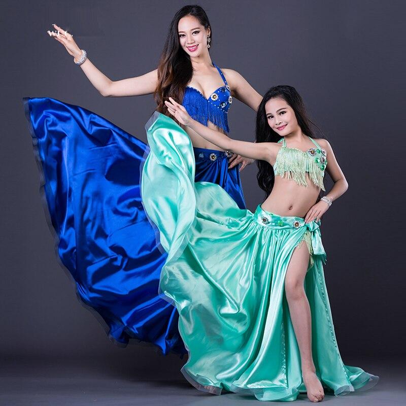 Новинка 2018 года танец живота для взрослых/детей 3 шт. танец спандекс комплект костюм платье девочек/женский танцевальный костюм
