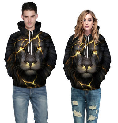 2018 New Fashion Lovers Matching 3D Hoodies Women Men Winter 3D Lion Animals Print Hooded Sweatshirt Long Sleeve Outwear