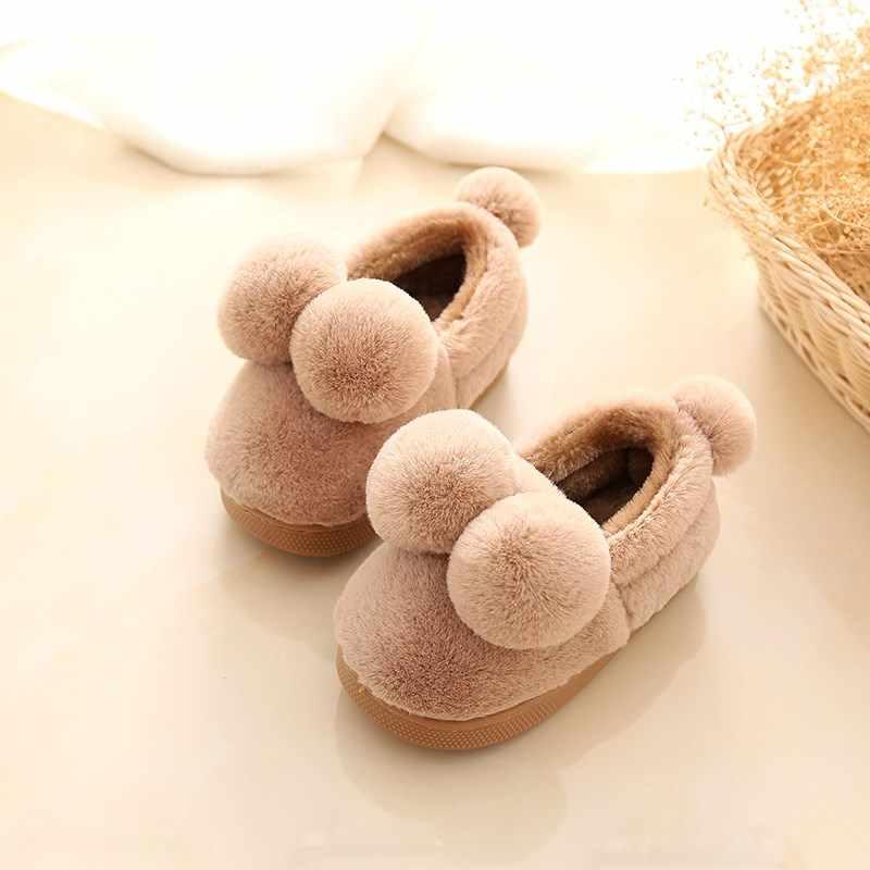 BeckyWalk Plush Ball Kids Slippers Home Slippers Winter Children Shoes Girls Boys House Indoor Slippers Warm Baby Flats CSH705