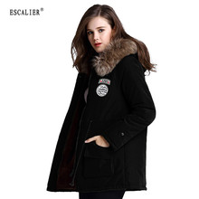 Escalier Women s Fur Winter basic Jackets Fur Collar Coat Jacket Thick Warm Hooded Zippers Warm