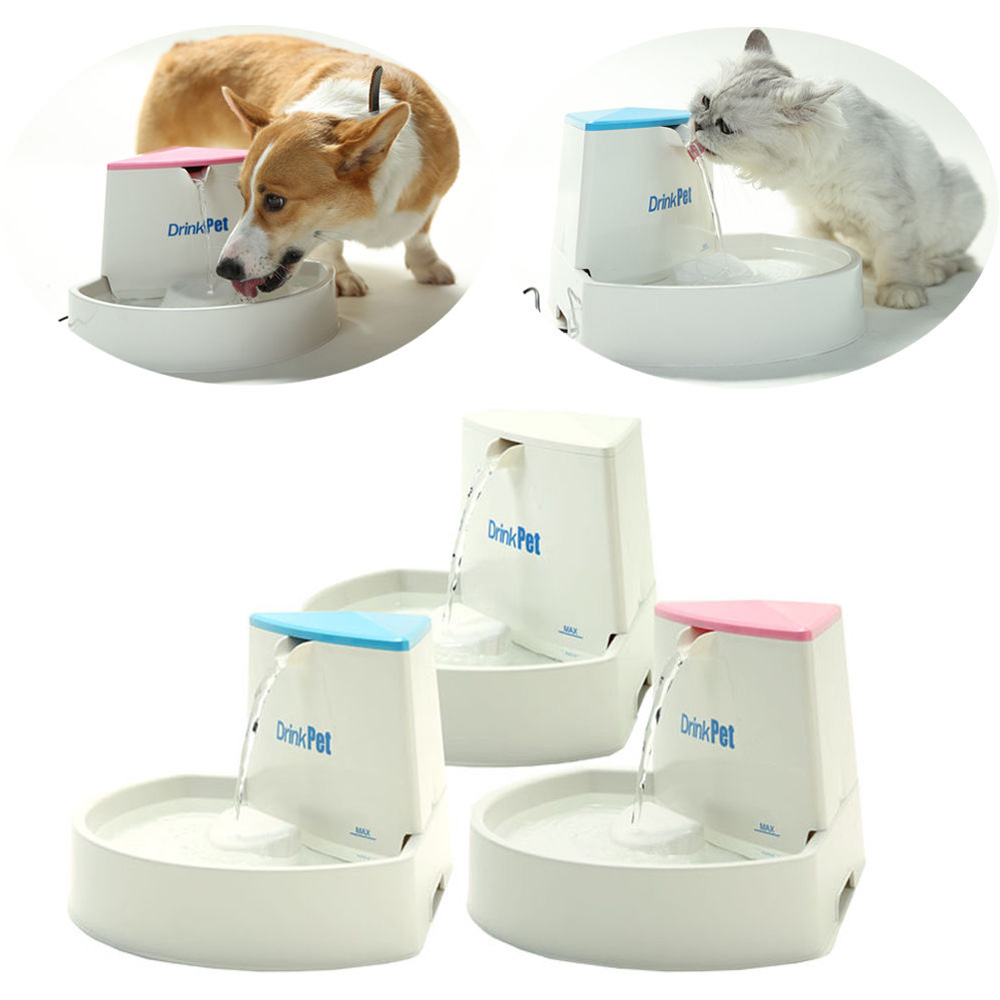 New 2.5L Automatic Electric Cat Dog Pet Water Fountain Drinking Bowl Drinker Filter large abs auto feeding bowl for pet dog cat deep pink translucent white
