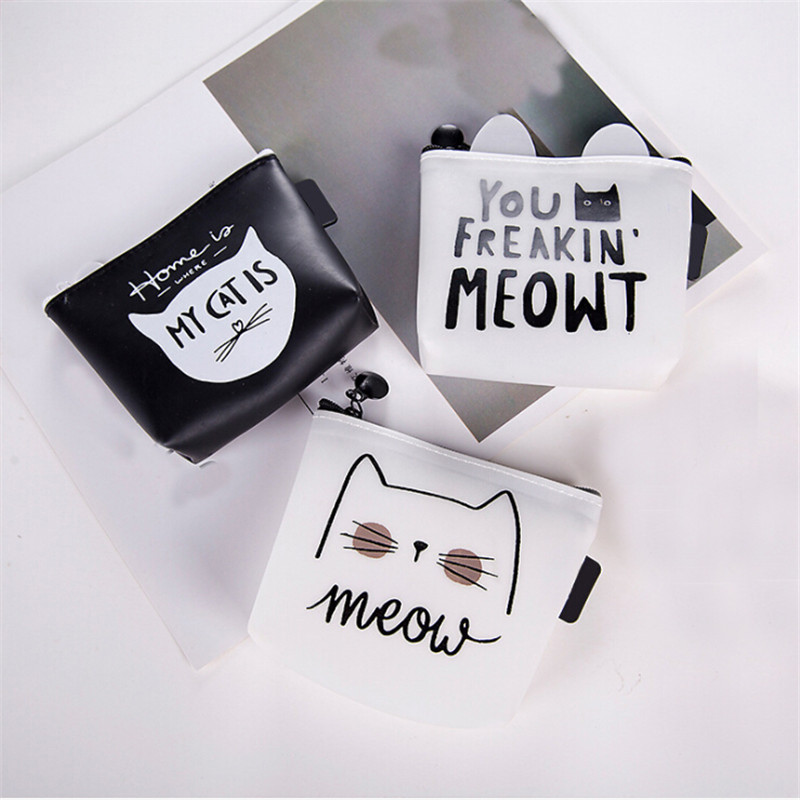 Mini Cosmetic Bag Portable Travel Organizer Cosmetic Bag Simple Multifunctional Makeup Case Cat Prints Small Toiletry Wash Pouch