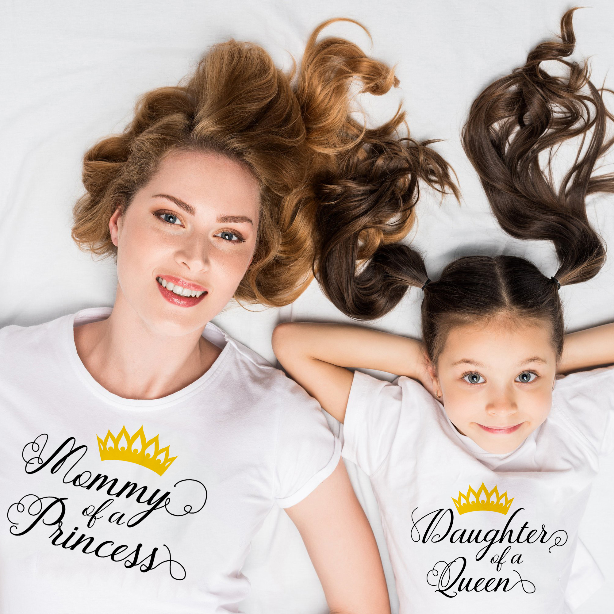 Mother Of A Princess Daughter Of A Queen Mommy & Me T-Shirts Mom And Daughter Or Son Short Sleeve T Shirt Family Matching Shirt