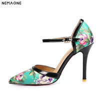 NEMAONE Buckle flower women Pumps Thin High Heels Point toe Party Wedding Shoes Woman blue apricot Black